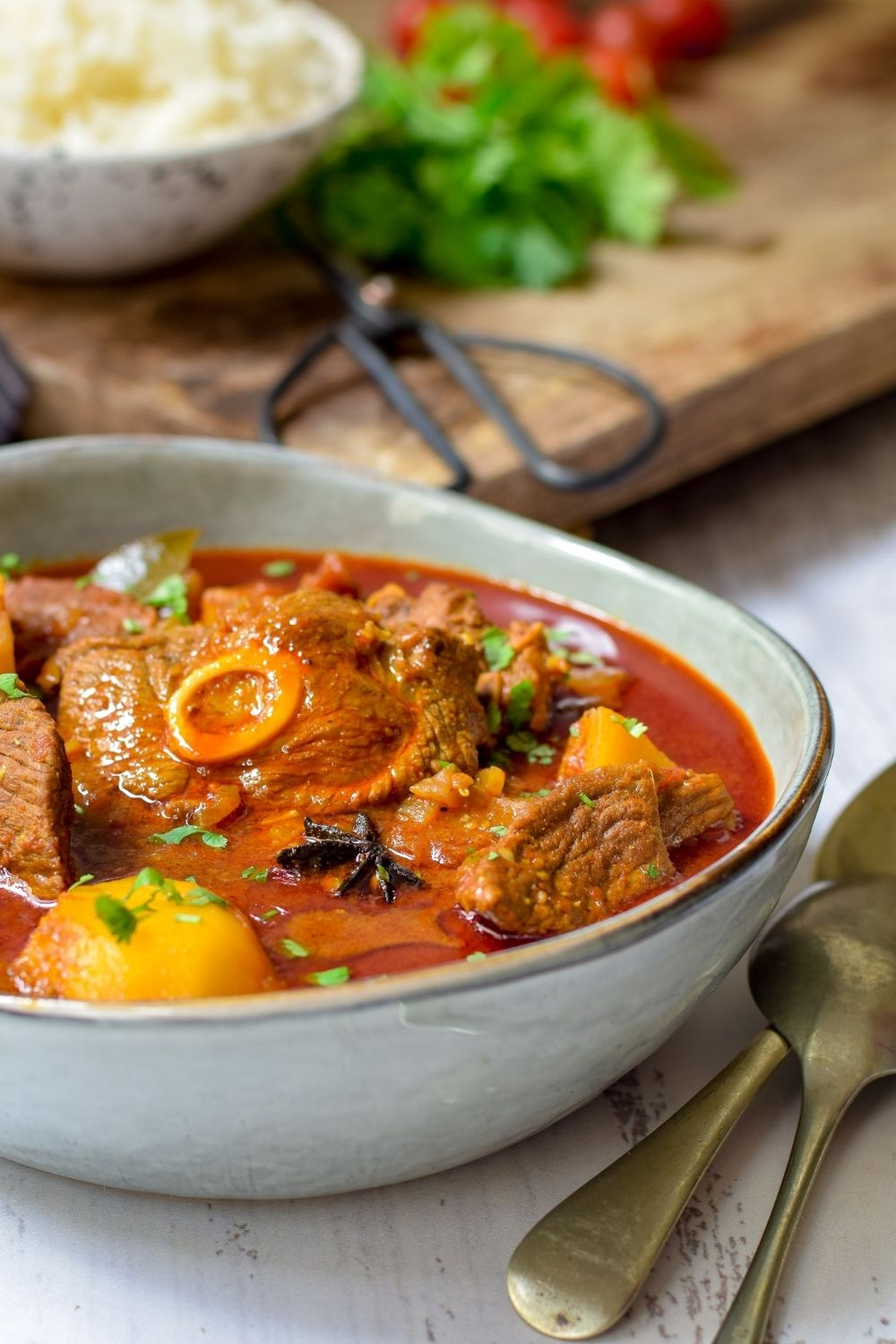 Durban Lamb Curry in a grey bowl