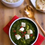 Simple vegetarian spinach and paneer with a hint of spice