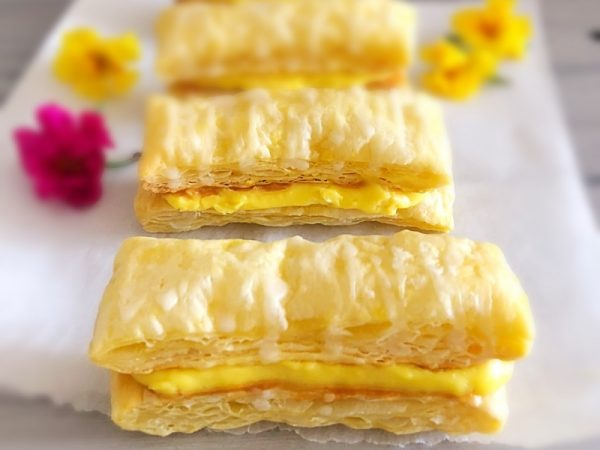 Caramel and Custard Danish Slices