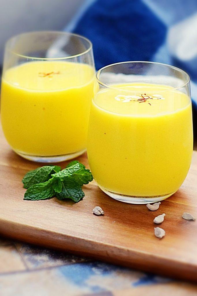 A blend of mango, yogurt, cardamom and saffron