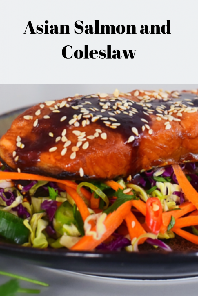 Healthy and delicious Salmon with crunchy coleslaw