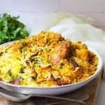 Chicken Masala Biryani in a white bowl