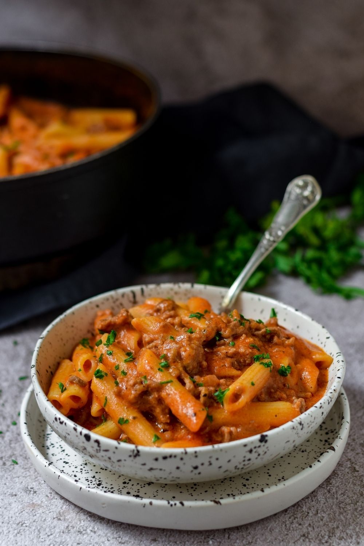 Spicy Tomato Lamb Pasta