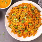 Rice cooked with curried vegetables in one pot