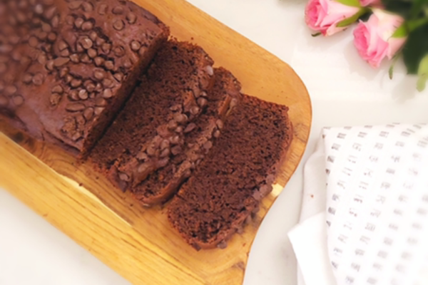 Delicious egg-free chocolate and banana bread with a hint of cinnamon