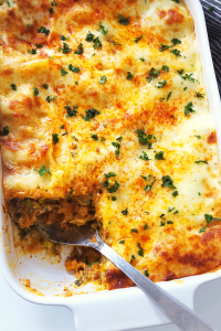 Butternut and Zucchini Lasagna with pesto and white sauce
