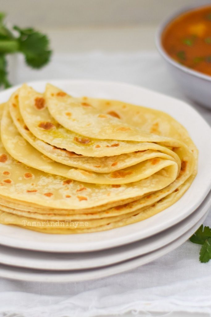 Butter Roti on a white plate