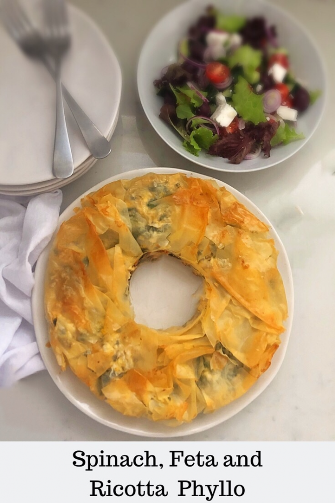 Phyllo pastry stuffed with spinach and loads of cheese