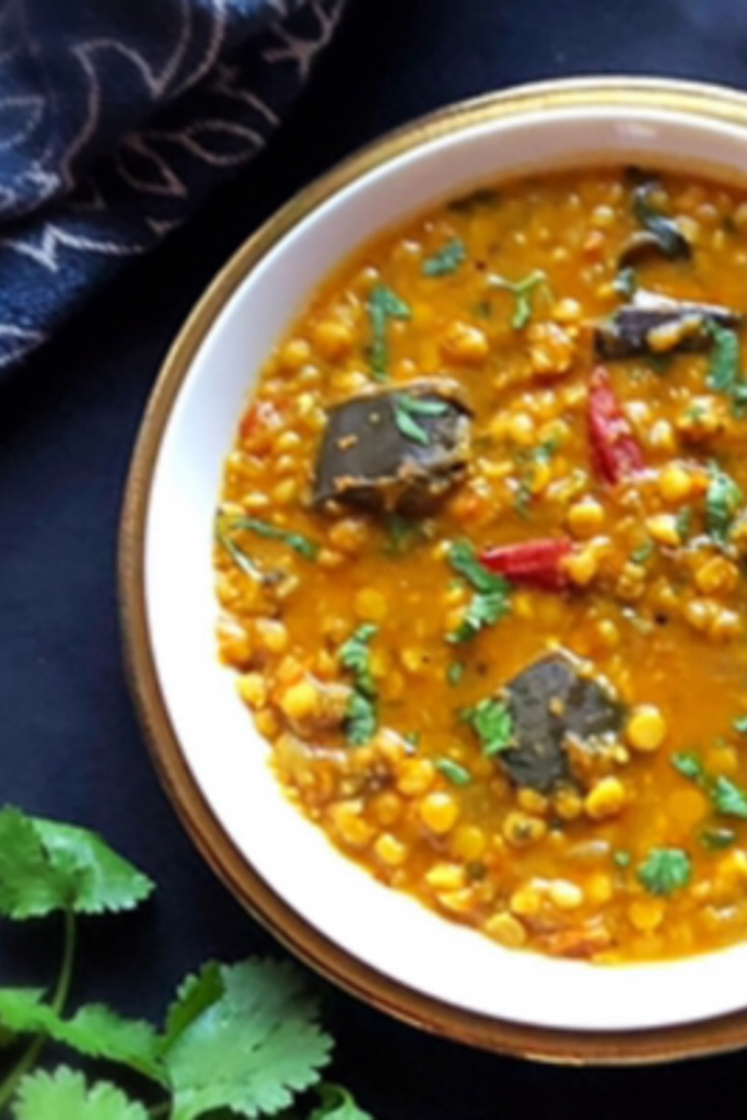 Gram/Chana Dal cooked with brinjal and fragrant spices