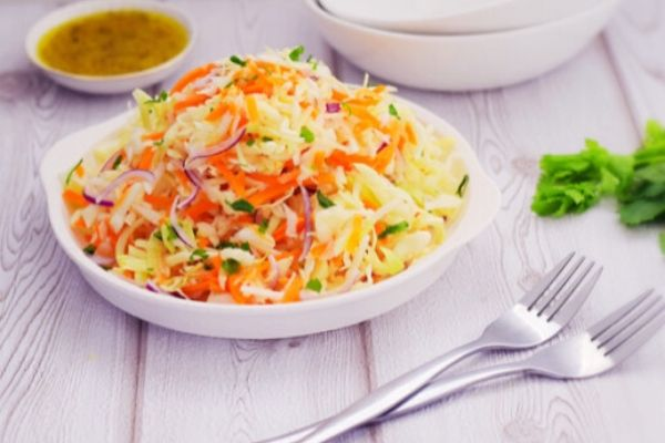 Quick and easy coleslaw with a vinaigrette dressing