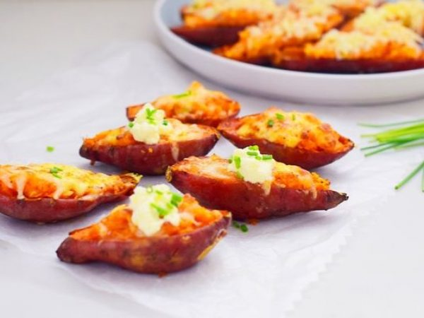 Spicy Loaded Sweet Potato Skins