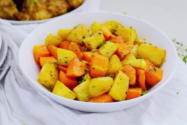 Roast Butternut and Sweet Potato in a white bowl
