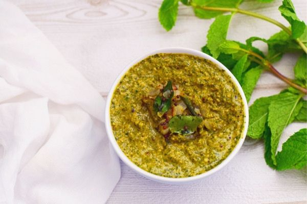 Indian Mint Chutney in a bowl