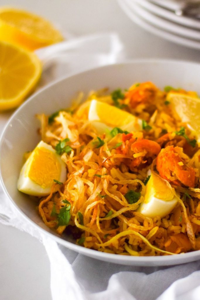 Kedgeree in a white bowl