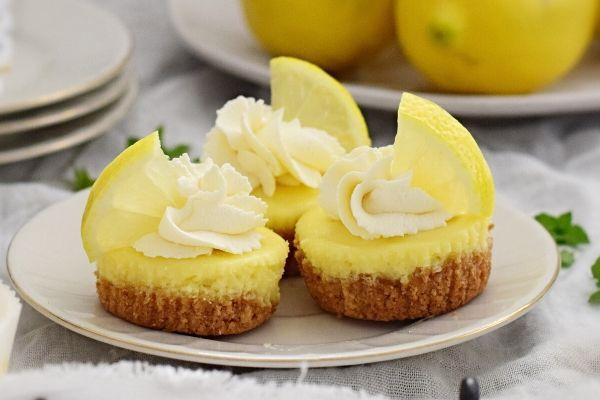 Mini Lemon Cheesecakes on a white plate