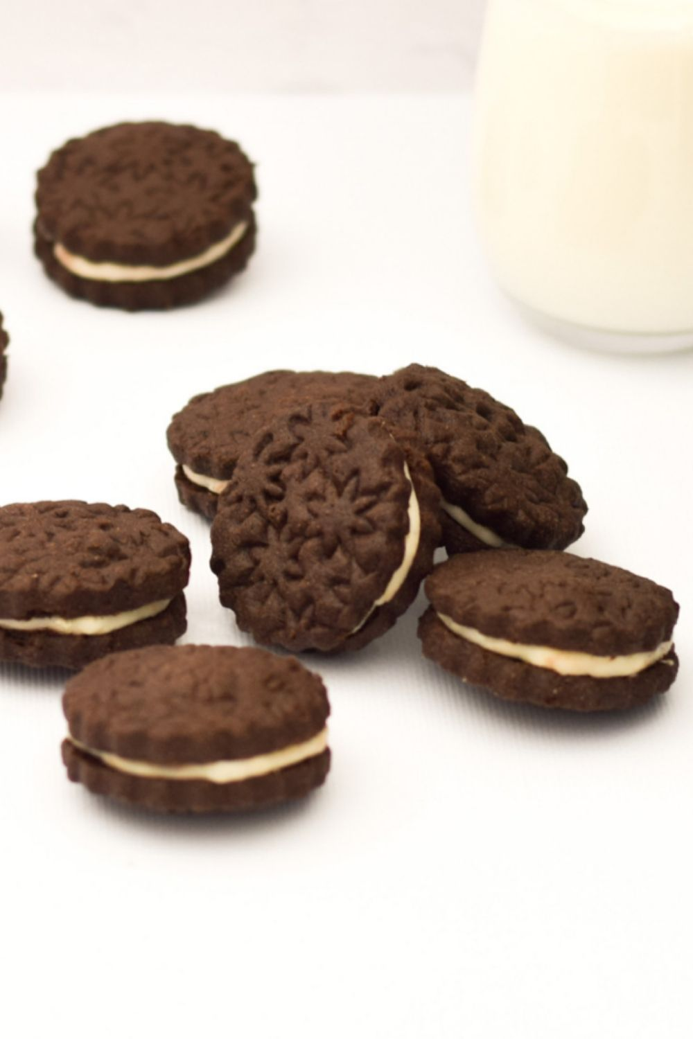 Oreo Biscuits on a white board
