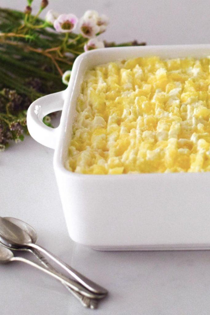 Pineapple Fridge Tart in a white dish