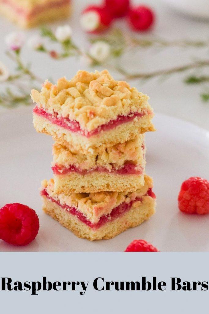 Raspberry Crumble Bars on a white plate