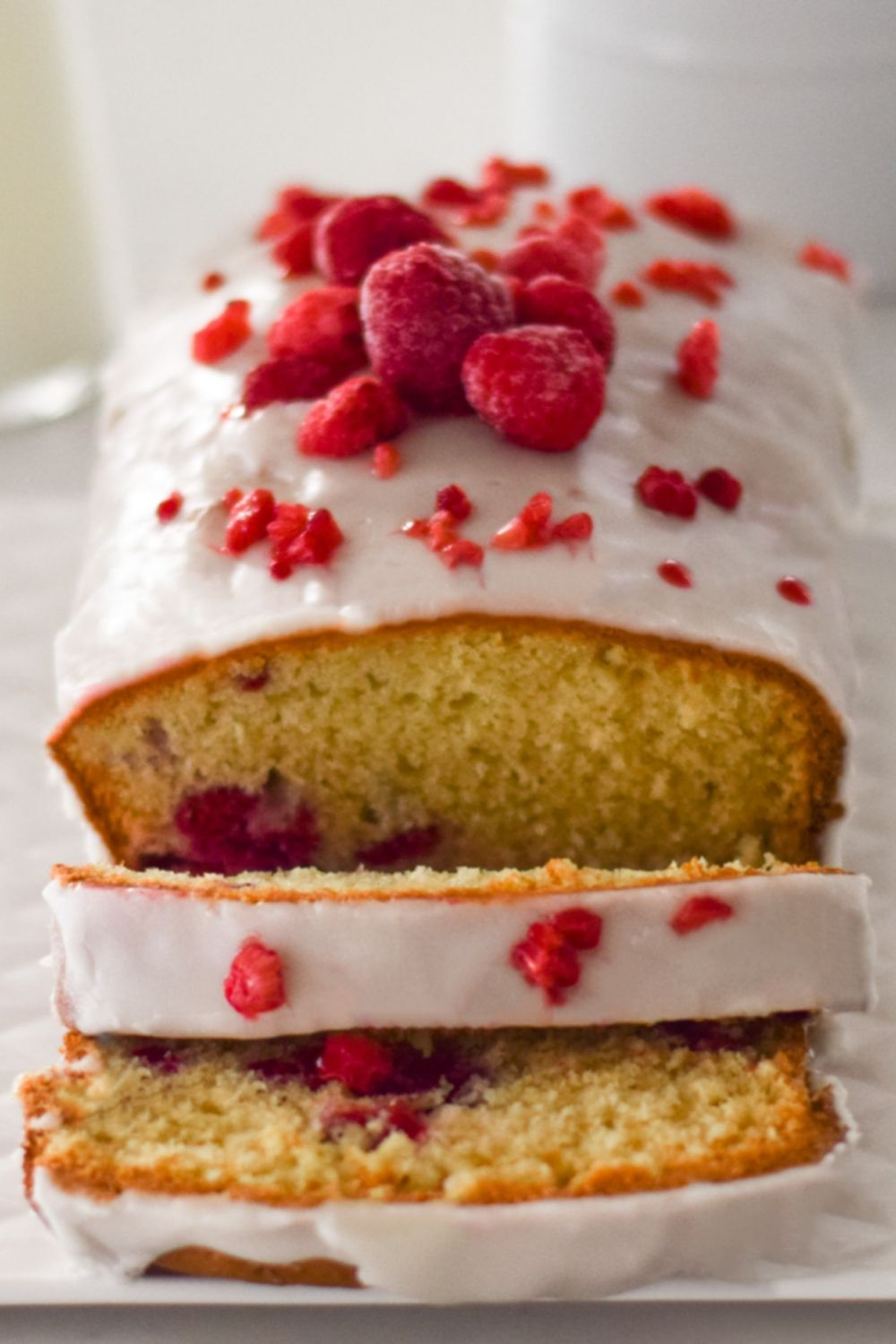 Raspberry Rose Loaf on a white platter