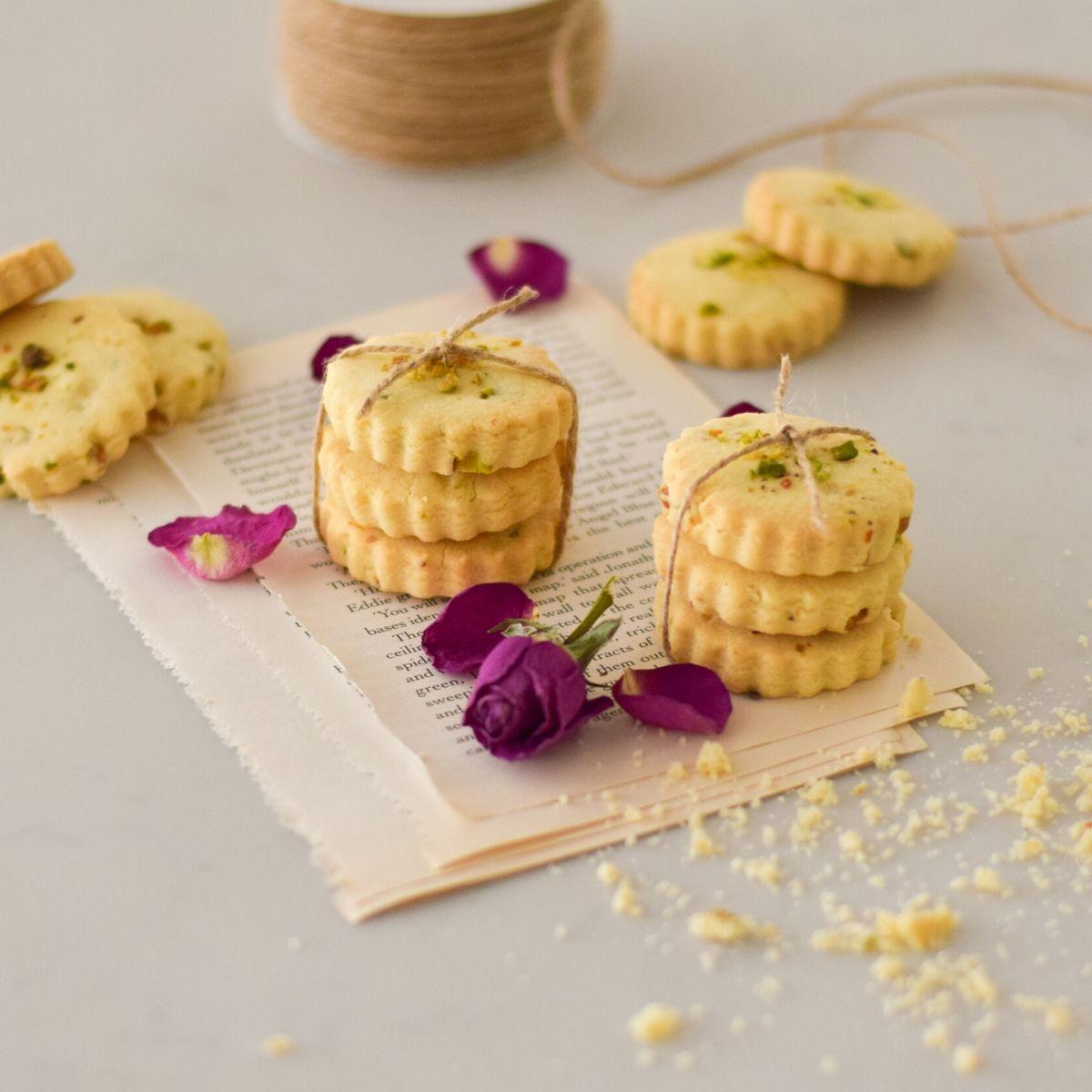 Rose Pistachio Shortbread Cookies
