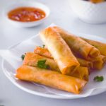 Vegetable Spring Rolls on a white plate