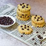 Chocolate Chip Shortbread on newspaper