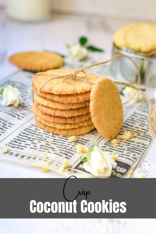 Crisp Coconut Cookies on newspaper