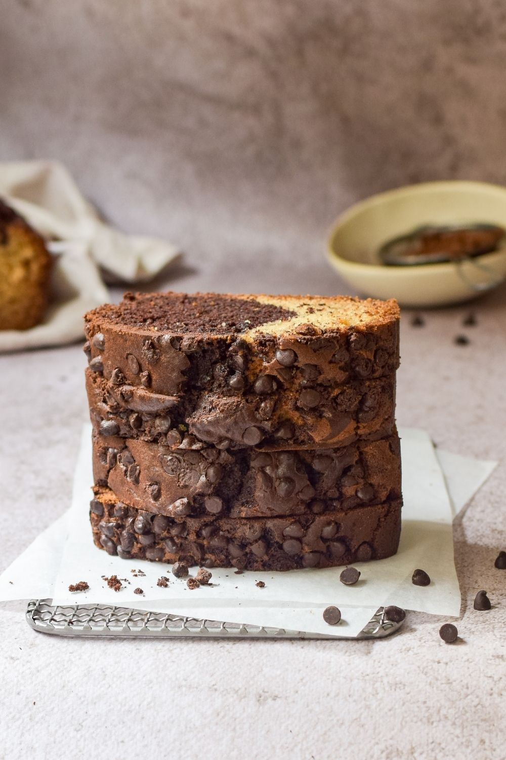 Slices of Chocolate Banana Bread stacked on top of each other
