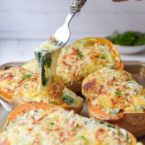 Creamed Spinach Stuffed Butternut Squash
