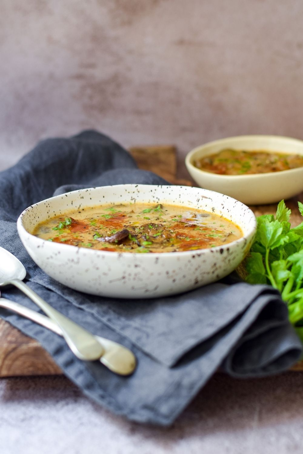 Hungarian Mushroom Soup in a white bowl