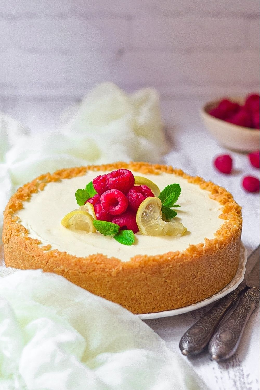 No bake lemon cheesecake on a white plate