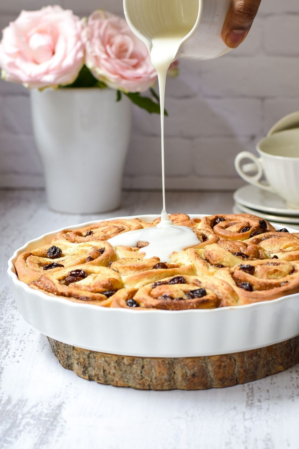Chelsea Buns in a white baking dish