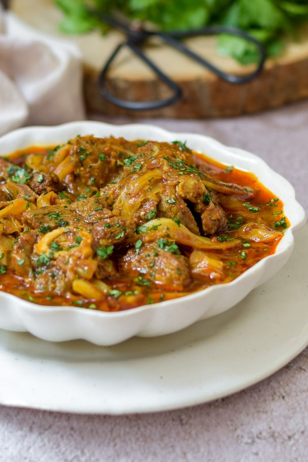 Lamb and Cabbage Curry in a white bowl
