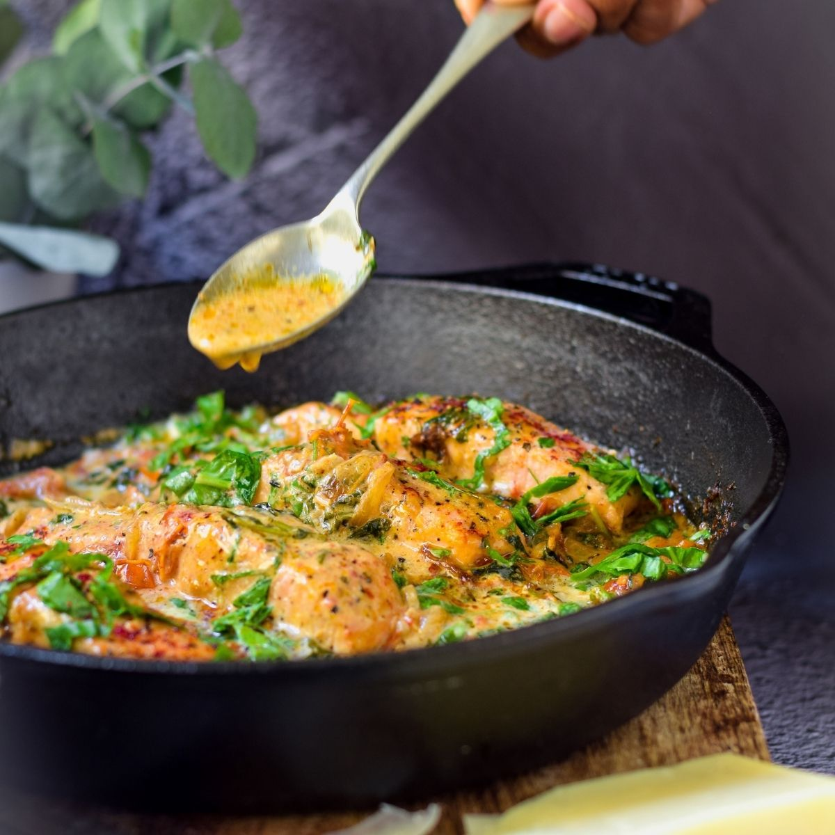 Creamy Tuscan Salmon with Spinach